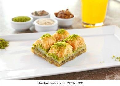 Baklava with pistachio. Turkish traditional dessert