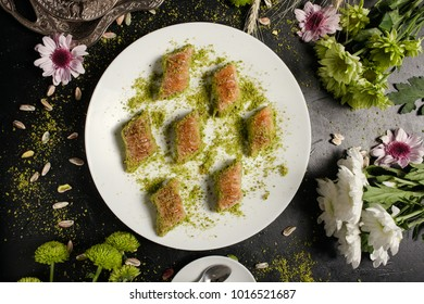 Baklava traditional oriental dessert. Sweet turkish food background concept
