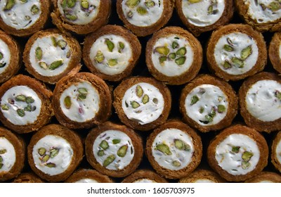 Baklava (traditional turkish delights) on street market of Istanbul, Turkey. Baklava is a rich, sweet dessert pastry made of layers of filo filled with chopped nuts and sweetened with syrup or honey