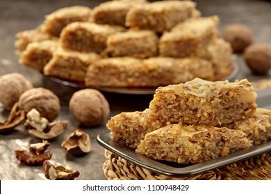 Baklava, Türkischer Ramadan Dessert Baklava, Baklava mit Walnuss