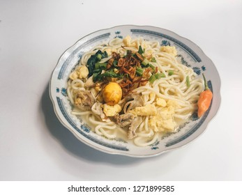 bakmi jowo, java noodle, indonesian traditional food noodles from central java, indonesia on white background