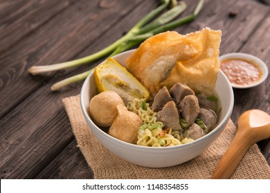 bakso. indonesian beef meatball served with noodle and tofu
