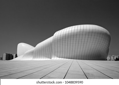 Baku, Azerbaijan, 09.16.2014, Cultural Center building named after Heydar Aliyev, architector Zaha Hadid, black and white artistic photo
