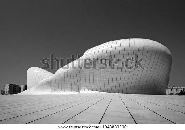 Baku, Azerbaijan, 09.16.2014, Cultural Center building named after Heydar Aliyev, architector Zaha Hadid, black and white artistic photo