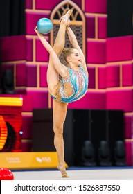 BAKU, AZERBAIJAN -16-22 SEPTEMBER, 2019: 37th FIG Rhythmic Gymnastics World Championships, Individual Apparatus Qualification, Valerie Ramenski (FRA) Ball