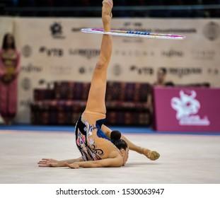 BAKU, AZERBAIJAN -16-22 SEPTEMBER, 2019: 37th FIG Rhythmic Gymnastics World Championships, Individual Apparatus Qualification Maria Ano Baca (ESP) hoop