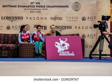 BAKU, AZERBAIJAN -16-22 SEPTEMBER, 2019: 37th FIG Rhythmic Gymnastics World Championships, Individual Apparatus Finals - Hoop, Boryana Kaleyn (BULGARIA), Kiss and cry area