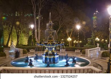 Baku, Azerbaijan - 19.01.2018: Fountain in the philarmony park in Baku city, Azerbaijan. Philharmonic Fountain Park. Philharmonic Hall is the main concert hall in Azerbaijan built in 1912