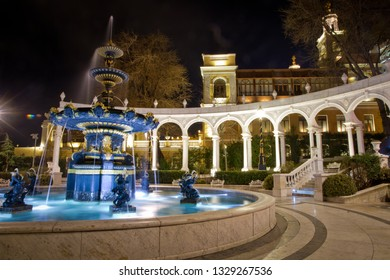 Baku, Azerbaijan - 2018: Garden water fountain of Youth. Fountain Square and the city Park in the center of Night Baku. Philharmonic Fountain Park near the Old City in Baku, Azerbaijan.