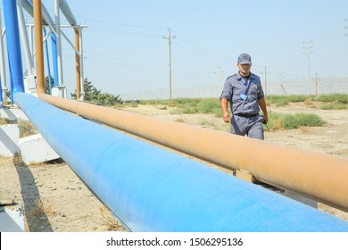 Baku Azerbaijan - 27 April, 2017. Security  safety equipment on oil plant . Protection Provides safety for oil and gas pipelines and inspects turbines.orange ang coral colored gas and oil pipeline.