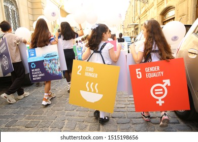 BAKU, AZERBAIJAN -9.26.2019 The event was dedicated to the Global Week on the Global Climate Strike and International Climate Action Summit .March on Sustainable Development Goals . Stand Together Now