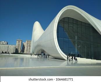 Baku, Azerbaijan - April 08, 2018 : Baku city new buildings and Heydar Aliyev Centre building complex designed by Iraqi-British architect Zaha Hadid