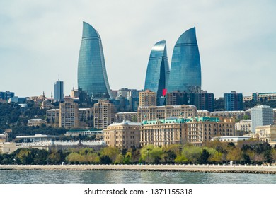 Baku, Azerbaijan April 16, 2019 View of the Flame Towers