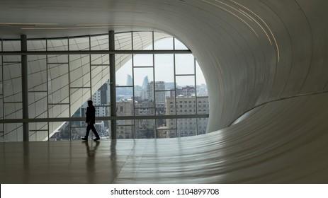 Baku, Azerbaijan - April 2018: Interior detail from Heydar Aliyev Cultural Center in Baku. The cultural center, built by architect Zaha Hadid.