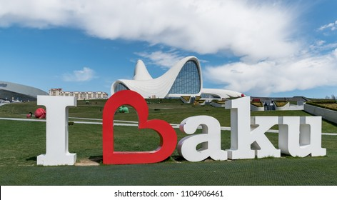 Baku, Azerbaijan - April 2018: I love Baku monument near the Heydar Aliyev Center. It is a building complex in Baku, Azerbaijan.