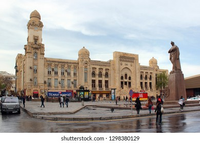 Baku, Azerbaijan - April 24, 2017: Monument to Jafar Jabbarly, an Azerbaijani playwright, poet, director and screenwriter, near the Main Baku Railway Station.