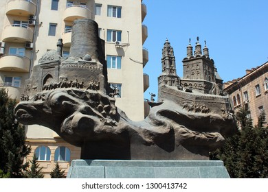 BAKU, AZERBAIJAN - APRIL 24, 2017: Monument of friendship between two coastal cities on Caspian Sea. Sculpture by Natiq Aliev depicts Maiden Tower in Baku and Kremlin in Russian city of Astrakhan.