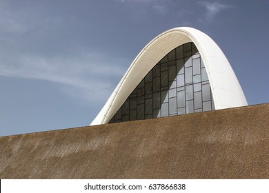 BAKU, AZERBAIJAN - APRIL 24, 2017: Heydar Aliyev Center with auditorium, gallery hall and museum. The building was designed by world-famous architect Zaha Hadid.