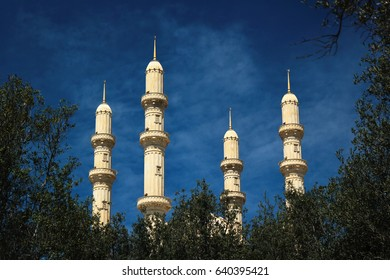 BAKU, AZERBAIJAN - APRIL 26, 2017: Four 95 meters height minarets of Heydar Mosque, one of the largest mosques in the Caucasus. Its total area is over 12000 square meters.