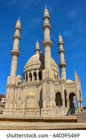 BAKU, AZERBAIJAN - APRIL 26, 2017: Heydar Mosque, one of the largest mosques in the Caucasus. It has four 95 meter height minarets, total area of the mosque is over 12000 square meters.
