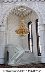 BAKU, AZERBAIJAN - APRIL 26, 2017: Minbar in Heydar Mosque, one of the largest mosques in the Caucasus. Its total area is over 12000 square meters.