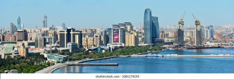 Baku, Azerbaijan - April 30, 2018. Panoramic view of skyline in Baku, Azerbaijan, with historic and modern architecture.