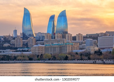 Baku, Azerbaijan, city skyline on dramatical sunset