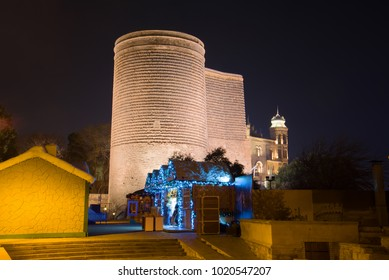 BAKU, AZERBAIJAN - DECEMBER 28, 2017: Maiden Tower in the late evening