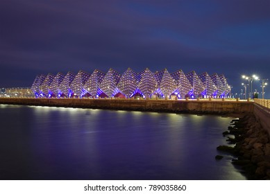 "BAKU, AZERBAIJAN - DECEMBER 29, 2017: View of the sports and concert complex ""Baku Crystal Hall"" on December evening"