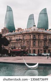 BAKU, AZERBAIJAN - FEBRUARY 2, 2019: Evening view on Flame Towers building in Baku, Azerbaijan