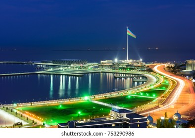 Baku, Azerbaijan - February 24, 2017: the state flag Square at night. Aerial panoramic view of Baku from the Martyrs Lane viewpoint, which is located in the center of Baku