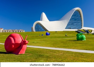 Baku, Azerbaijan - February 25, 2017: Heydar Aliyev Center Museum in Baku. Cosmic architecture of Zaha Hadid architect. Modern cultural center, which became a new symbol of Baku