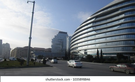 Baku, Azerbaijan - February 25, 2018: Baku White City Office Building.Baku White City is one of the modern world's largest projects