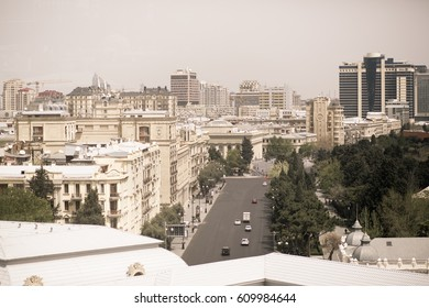 Baku, Azerbaijan. Image with selective focus and toning.