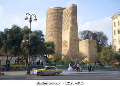 BAKU, AZERBAIJAN - JANUARY 04, 2018: View of the Maiden's Tower on a January day