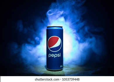 BAKU, AZERBAIJAN - JANUARY 13,2018 : Pepsi can against dark toned foggy background. Pepsi is a carbonated soft drink produced by PepsiCo.
