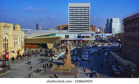 Baku, Azerbaijan - January 22, 2019: Jafar Jabbarli monumen located in 28 May Street near Baku Central Railway Station