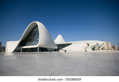 BAKU, AZERBAIJAN - JANUARY 3, 2017 : Heydar Aliyev Cultural Center in Baku, Azerbaijan on January 3, 2017.