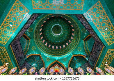 Baku, Azerbaijan - Jul 14, 2018: TheBibi-Heybat Mosqueis a historical mosque inBaku,Azerbaijan. The existing structure, built in the 1990s, is a recreation of the original mosque.