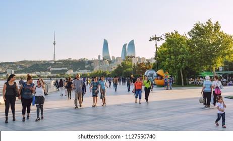 Baku, Azerbaijan, July 03, 2018. Tourists walking on city streets