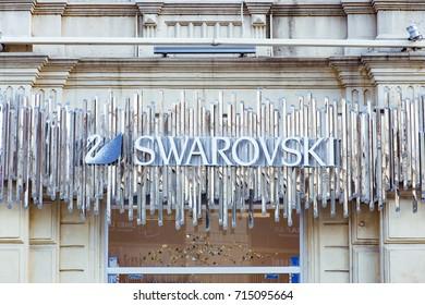 BAKU, AZERBAIJAN - JULY 12, 2016: Swarovski store in Baku Azerbaijan. The Swarovski Crystal range includes home decoration objects, jewelry and couture, and chandeliers