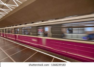 Baku, Azerbaijan - July 15, 2018: Train leaving the May 28 Metro station in the city of Baku, Azerbaijan.