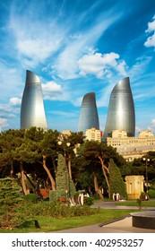BAKU, AZERBAIJAN - July 16, 2015: panorama Baku city in the morning, Azerbaijan