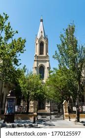 Baku, Azerbaijan – July 5, 2020.  A spired German Lutheran church Kirche, dating from 1899, on 28th May Street in Baku.