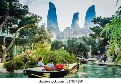 BAKU, AZERBAIJAN - JULY 8, 2016: Picture view of the Baku towers. Baku Flame Tower beautiful view . View of the Baku Flame towers. City view on Flame towers, Azerbaijan Lovely background.