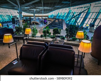 Baku Azerbaijan july 8 2016: Luxury Business class lounge at airport terminal. VIP lounge Rest in airport. Quite place VIP airport. VIP treatment at airport departure lounge VIP passenger rest room