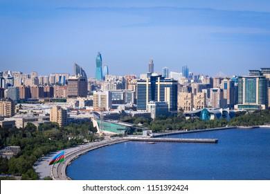 Baku, Azerbaijan - June 04, 2017: Panoramic View of the Baku Coast line, Azerbaijan