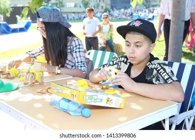 BAKU, AZERBAIJAN - JUNE 1 2019 : Kids festival . In park of Heydar Aliyev Center. Construction is straightforward