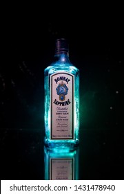 Baku, Azerbaijan - JUNE 16. 2019, Bottle of Bombay Sapphire, a brand of gin distributed by Bacardi. Introduced to the market in 1987 by International Distillers and Vintners.