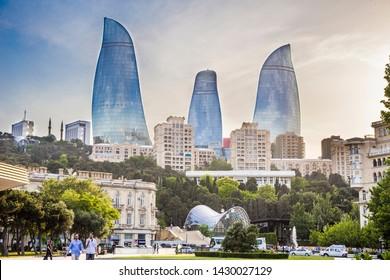 Baku, Azerbaijan - June 2, 2019: Baku Flame Towers is the tallest skyscraper in Baku, tourism in Azerbaijan. Old city